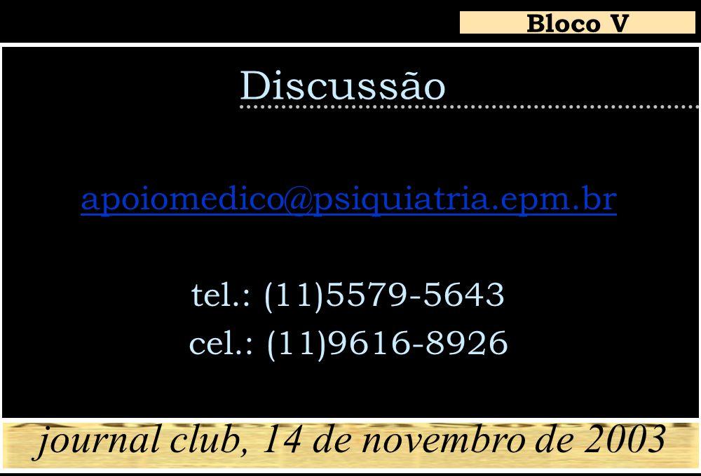 Discussão apoiomedico@psiquiatria.epm.br tel.: (11)5579-5643 cel.: (11)9616-8926 Bloco V journal club, 14 de novembro de 2003