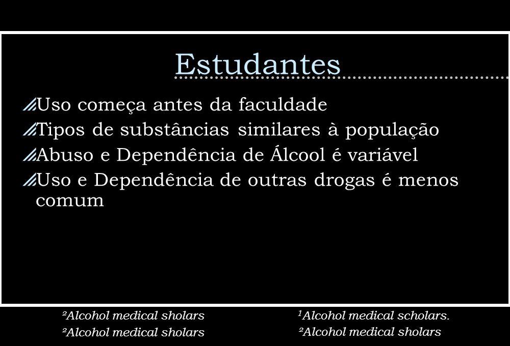 Estudantes Uso começa antes da faculdade Tipos de substâncias similares à população Abuso e Dependência de Álcool é variável Uso e Dependência de outr
