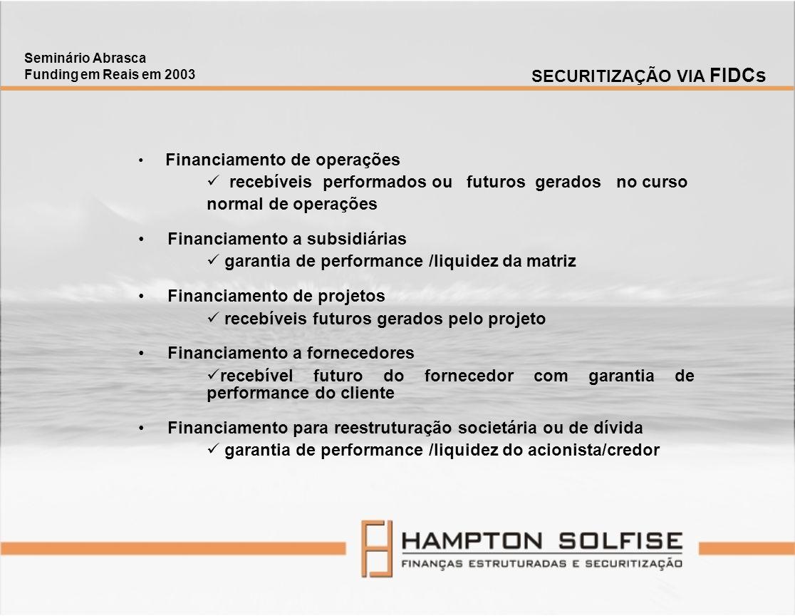 Financiamento de operações recebíveis performados ou futuros gerados no curso normal de operações Financiamento a subsidiárias garantia de performance