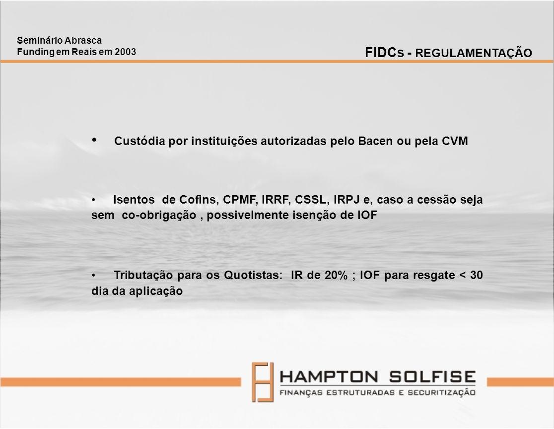 Custódia por instituições autorizadas pelo Bacen ou pela CVM Isentos de Cofins, CPMF, IRRF, CSSL, IRPJ e, caso a cessão seja sem co-obrigação, possive