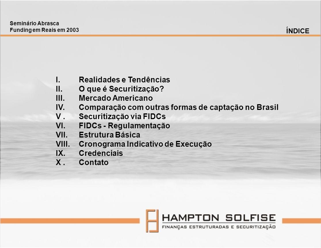 I.Realidades e Tendências II.O que é Securitização? III.Mercado Americano IV.Comparação com outras formas de captação no Brasil V.Securitização via FI