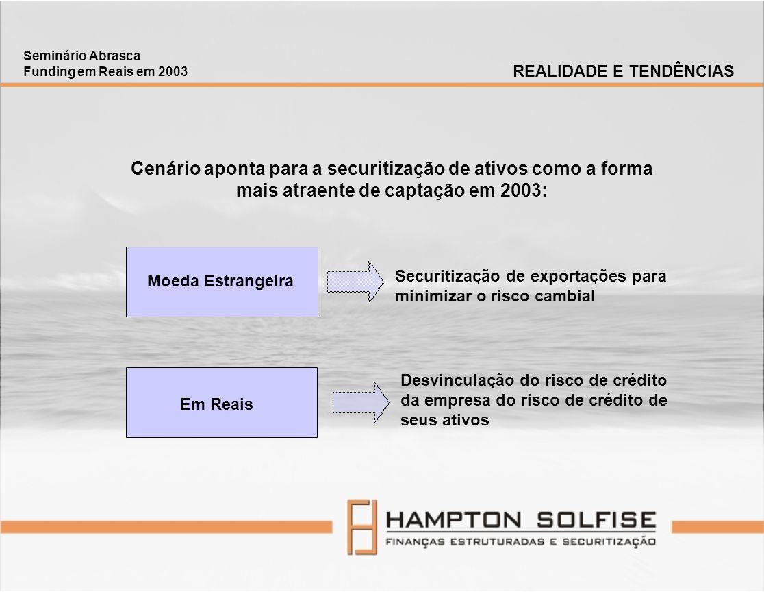 Seminário Abrasca Funding em Reais em 2003 CREDENCIAIS No Brasil, a Hampton Solfise é pioneira no introdução de novas soluções em finanças estruturadas, tendo liderado, em 2002, o consórcio que estruturou o 1o.