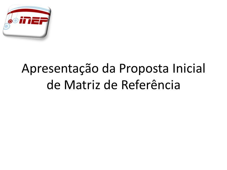 Apresentação da Proposta Inicial de Matriz de Referência