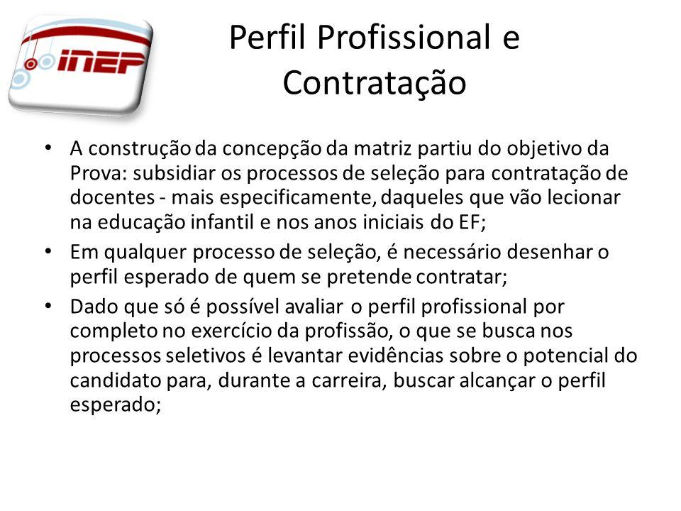 Perfil Profissional e Contratação A construção da concepção da matriz partiu do objetivo da Prova: subsidiar os processos de seleção para contratação