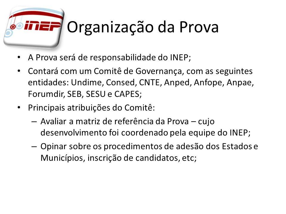 Organização da Prova A Prova será de responsabilidade do INEP; Contará com um Comitê de Governança, com as seguintes entidades: Undime, Consed, CNTE,