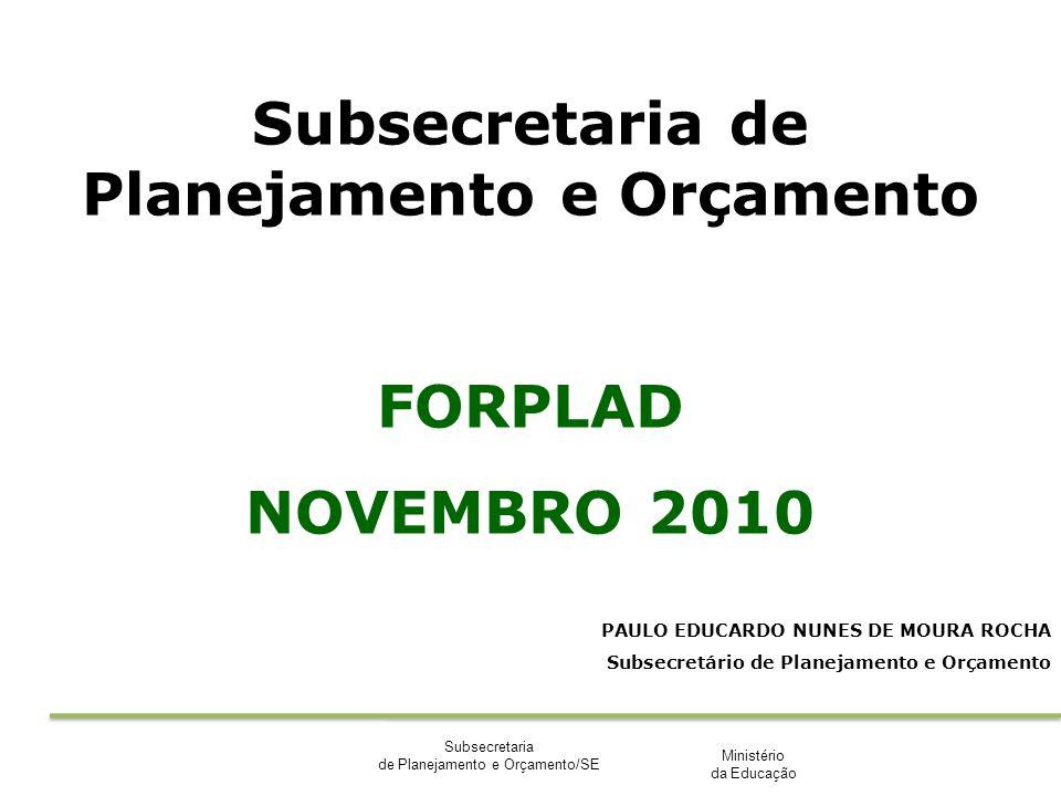 Ministério da Educação Subsecretaria de Planejamento e Orçamento/SE Subsecretaria de Planejamento e Orçamento FORPLAD NOVEMBRO 2010 PAULO EDUCARDO NUN