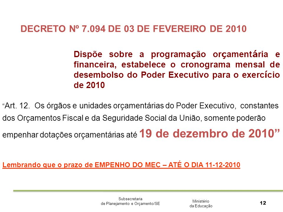 Ministério da Educação Subsecretaria de Planejamento e Orçamento/SE 12 DECRETO Nº 7.094 DE 03 DE FEVEREIRO DE 2010 Dispõe sobre a programa ç ão or ç a