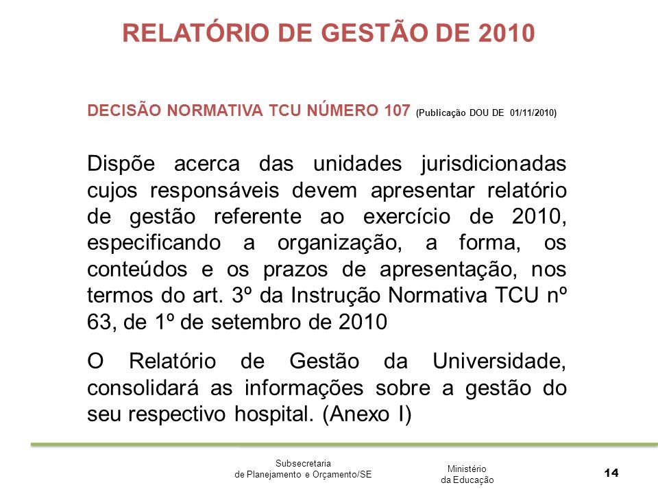 Ministério da Educação Subsecretaria de Planejamento e Orçamento/SE 14 RELATÓRIO DE GESTÃO DE 2010 DECISÃO NORMATIVA TCU NÚMERO 107 (Publicação DOU DE