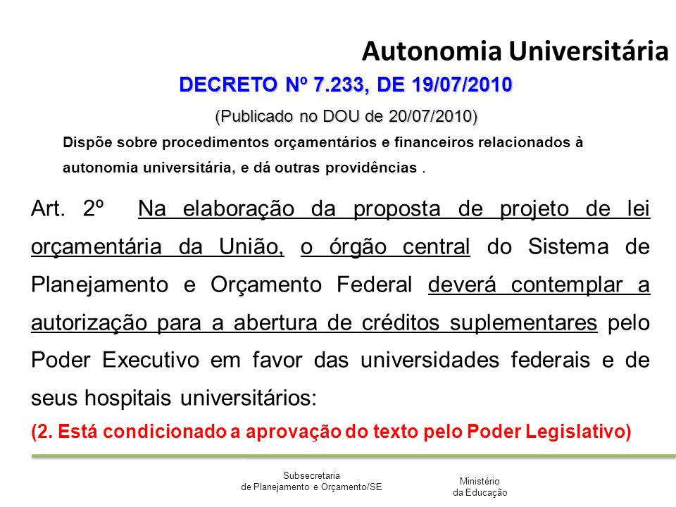 Ministério da Educação Subsecretaria de Planejamento e Orçamento/SE Autonomia Universitária DECRETO Nº 7.233, DE 19/07/2010 (Publicado no DOU de 20/07