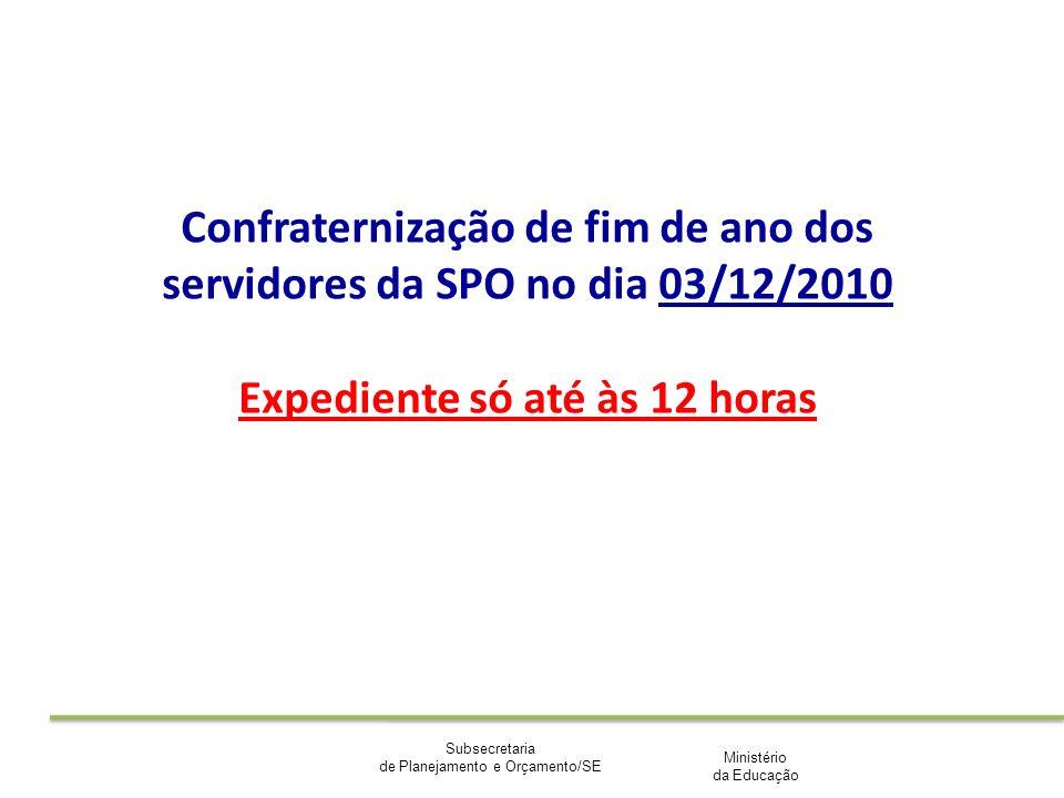 Ministério da Educação Subsecretaria de Planejamento e Orçamento/SE Confraternização de fim de ano dos servidores da SPO no dia 03/12/2010 Expediente