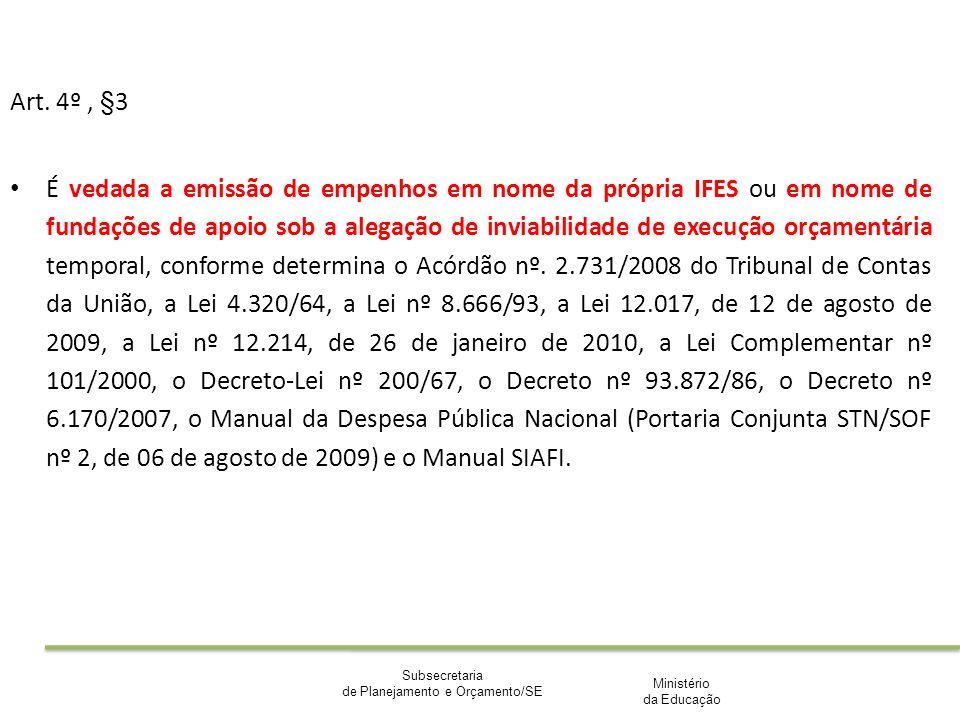 Ministério da Educação Subsecretaria de Planejamento e Orçamento/SE Art. 4º, §3 É vedada a emissão de empenhos em nome da própria IFES ou em nome de f