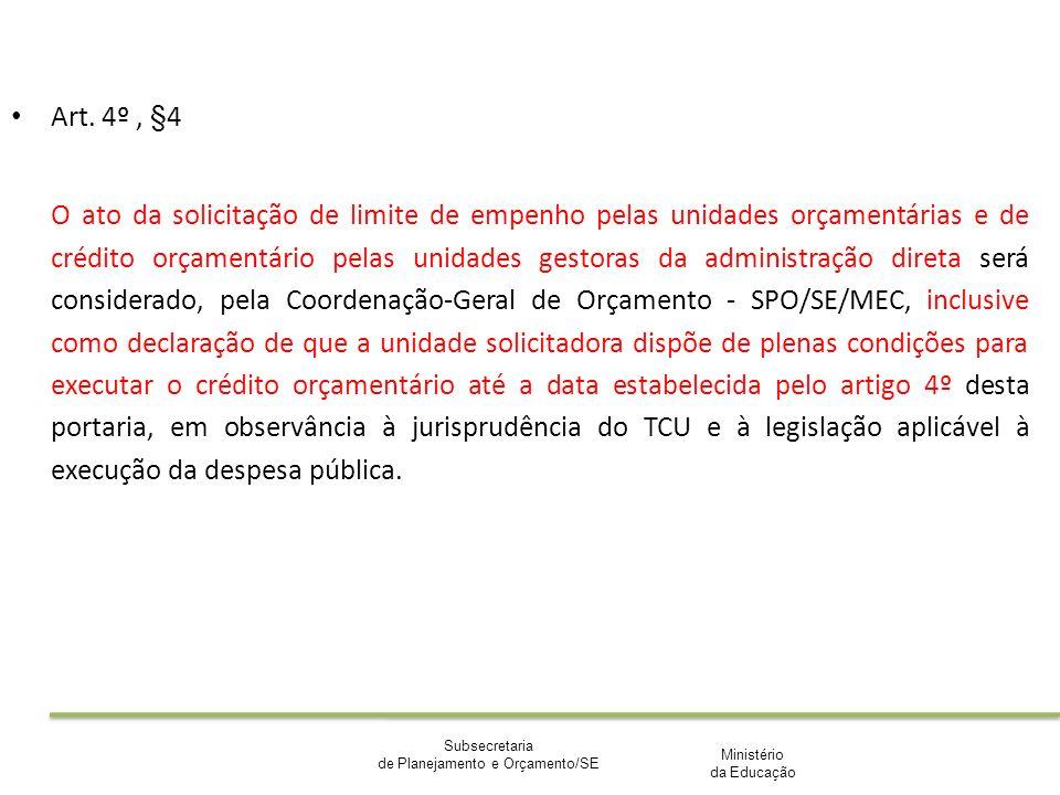 Ministério da Educação Subsecretaria de Planejamento e Orçamento/SE Art. 4º, §4 O ato da solicitação de limite de empenho pelas unidades orçamentárias