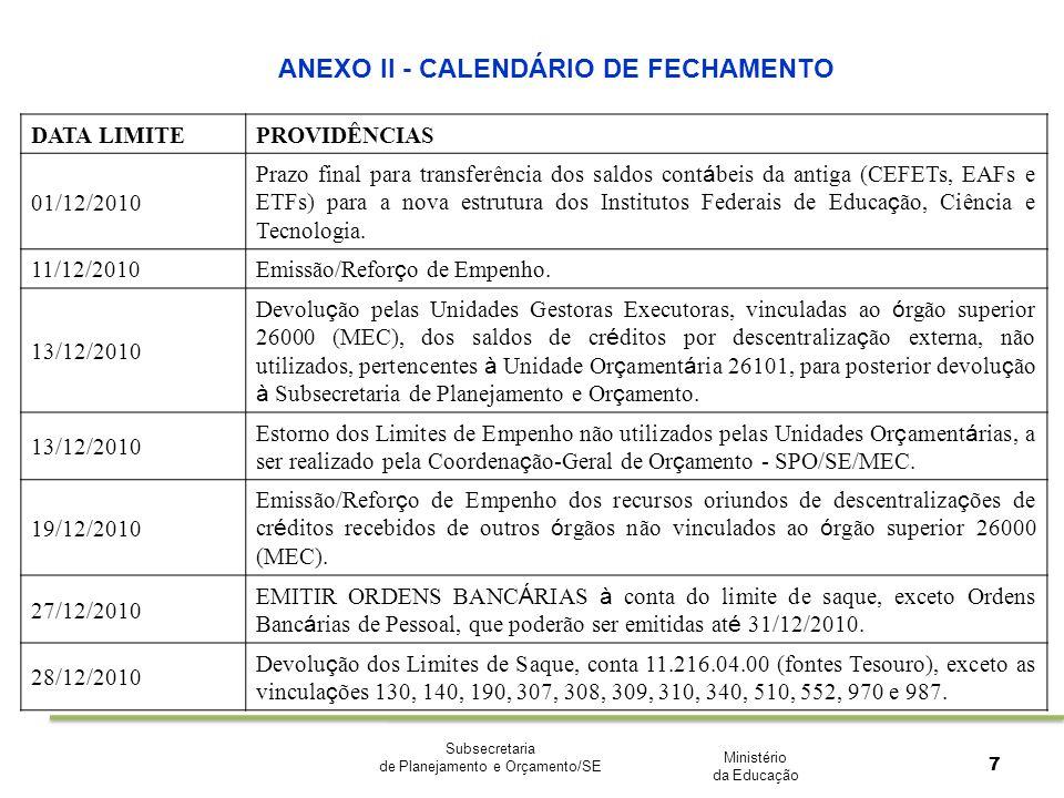 Ministério da Educação Subsecretaria de Planejamento e Orçamento/SE 7 ANEXO II - CALENDÁRIO DE FECHAMENTO DATA LIMITEPROVIDÊNCIAS 01/12/2010 Prazo fin