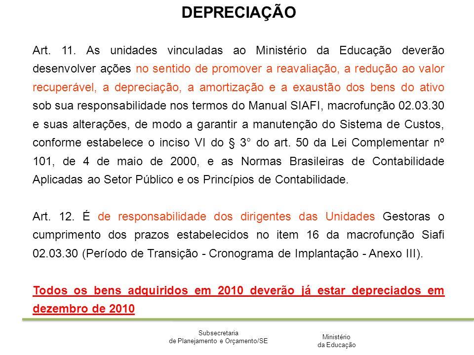 Ministério da Educação Subsecretaria de Planejamento e Orçamento/SE DEPRECIAÇÃO Art. 11. As unidades vinculadas ao Ministério da Educação deverão dese