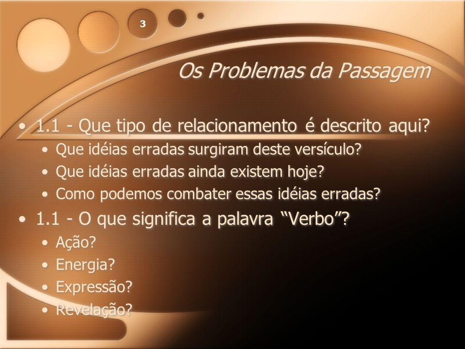 3 Os Problemas da Passagem 1.1 - Que tipo de relacionamento é descrito aqui? Que idéias erradas surgiram deste versículo? Que idéias erradas ainda exi