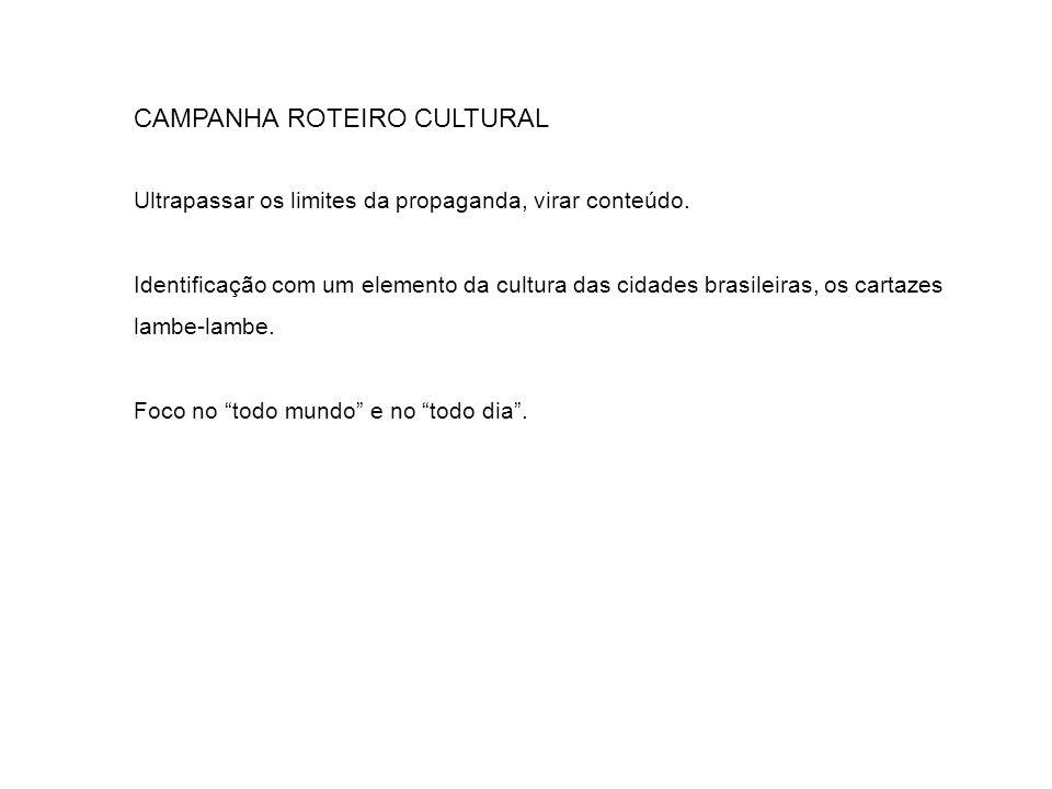 CAMPANHA ROTEIRO CULTURAL Ultrapassar os limites da propaganda, virar conteúdo. Identificação com um elemento da cultura das cidades brasileiras, os c