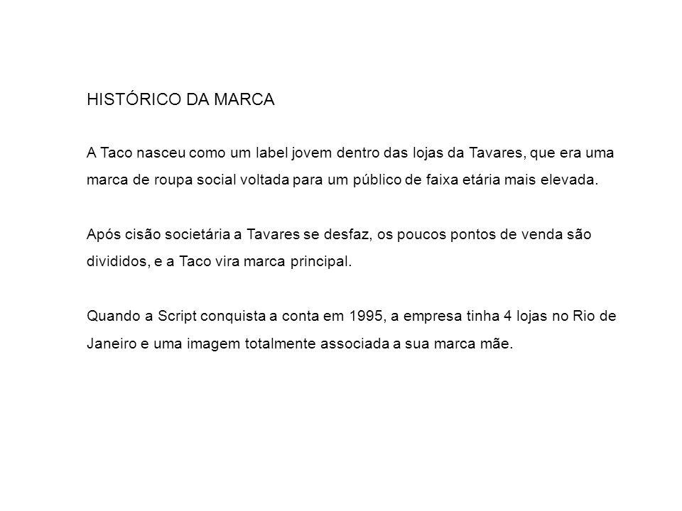 HISTÓRICO DA MARCA A Taco nasceu como um label jovem dentro das lojas da Tavares, que era uma marca de roupa social voltada para um público de faixa e