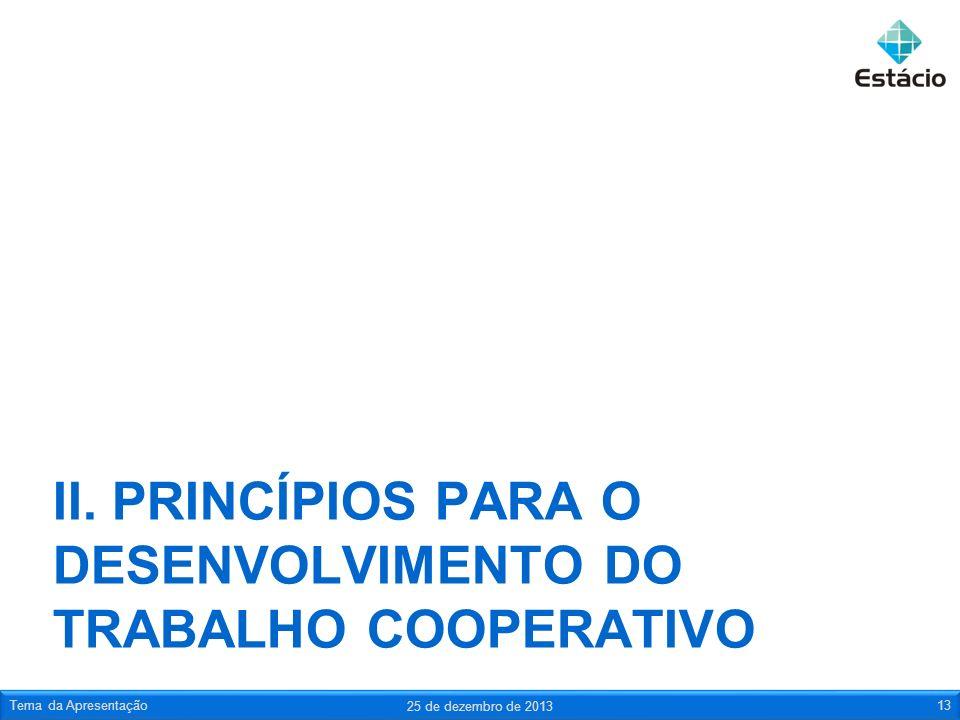 II. PRINCÍPIOS PARA O DESENVOLVIMENTO DO TRABALHO COOPERATIVO 25 de dezembro de 2013 Tema da Apresentação13