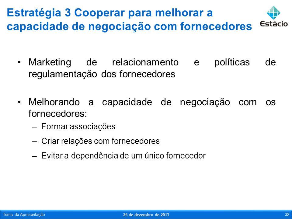 Marketing de relacionamento e políticas de regulamentação dos fornecedores Melhorando a capacidade de negociação com os fornecedores: –Formar associaç