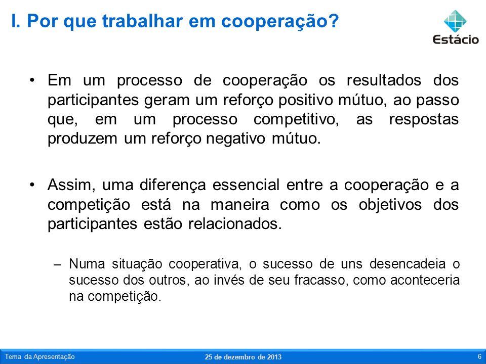 Cooperação é um acordo em que organizações, grupos e indivíduos trabalham em conjunto na realização de uma tarefa específica pra atingir um objetivo de interesse comum.