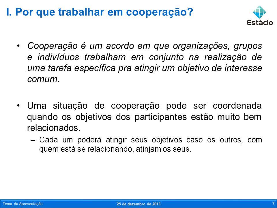 Cooperação é um acordo em que organizações, grupos e indivíduos trabalham em conjunto na realização de uma tarefa específica pra atingir um objetivo d