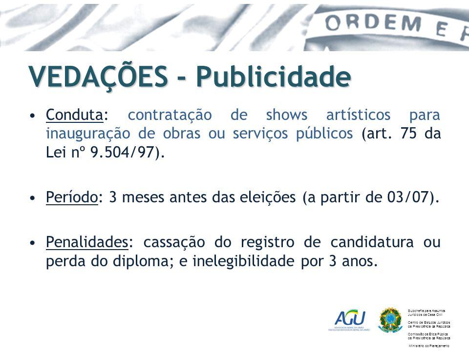 VEDAÇÕES - Publicidade Conduta: contratação de shows artísticos para inauguração de obras ou serviços públicos (art. 75 da Lei nº 9.504/97). Período: