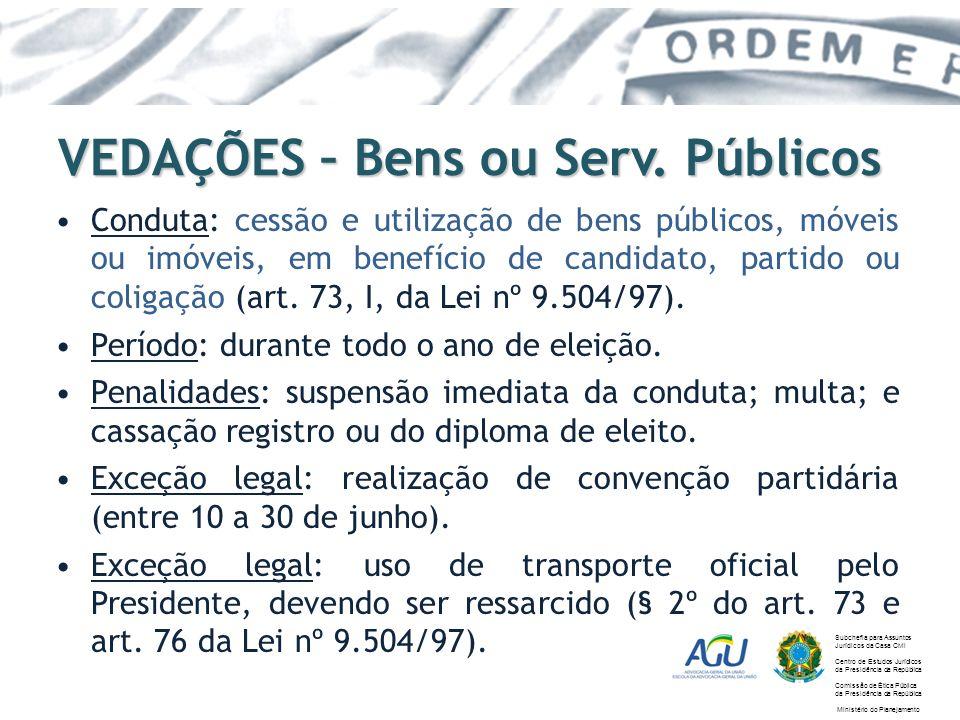 VEDAÇÕES – Bens ou Serv. Públicos Conduta: cessão e utilização de bens públicos, móveis ou imóveis, em benefício de candidato, partido ou coligação (a