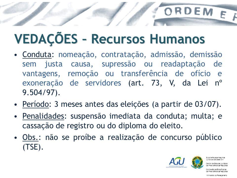 VEDAÇÕES – Recursos Humanos Conduta: nomeação, contratação, admissão, demissão sem justa causa, supressão ou readaptação de vantagens, remoção ou tran