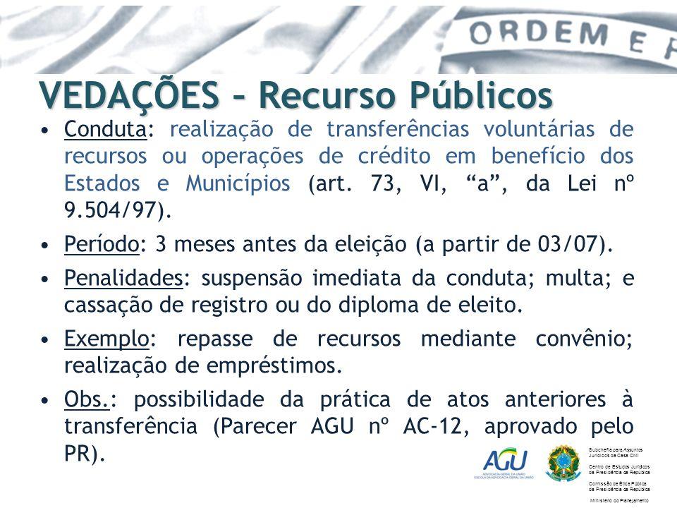 VEDAÇÕES – Recurso Públicos Conduta: realização de transferências voluntárias de recursos ou operações de crédito em benefício dos Estados e Município