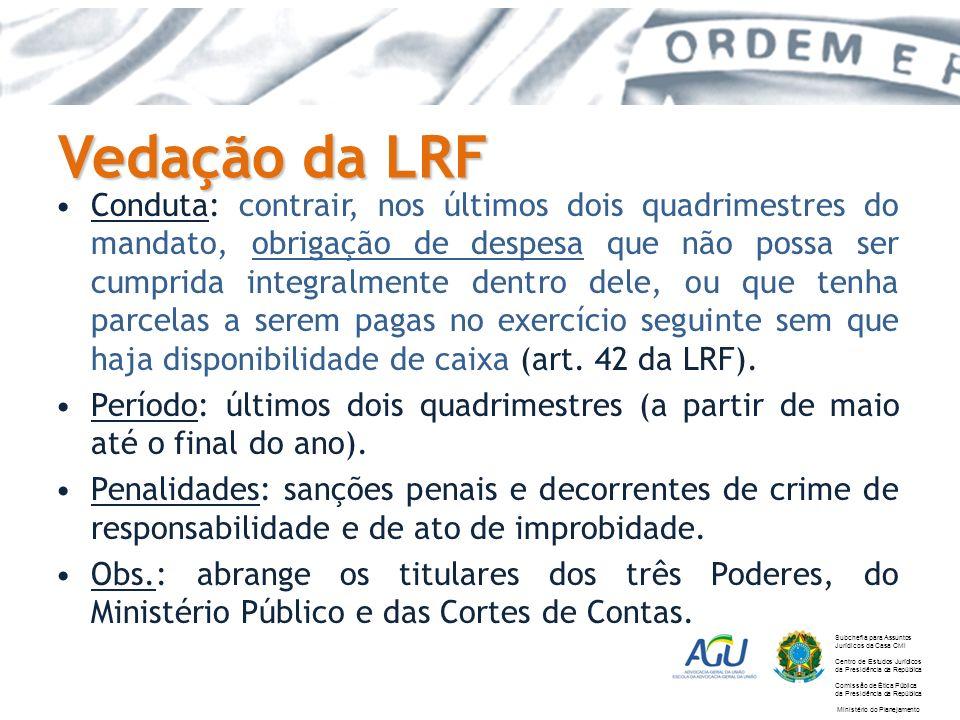 Vedação da LRF Conduta: contrair, nos últimos dois quadrimestres do mandato, obrigação de despesa que não possa ser cumprida integralmente dentro dele