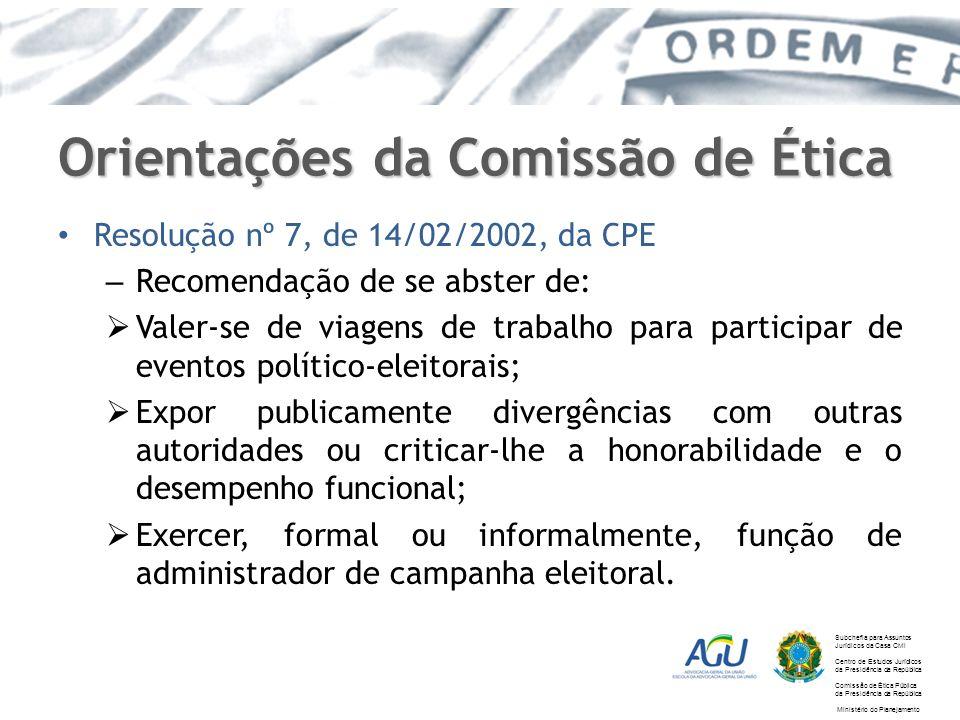 Orientações da Comissão de Ética Resolução nº 7, de 14/02/2002, da CPE – Recomendação de se abster de: Valer-se de viagens de trabalho para participar