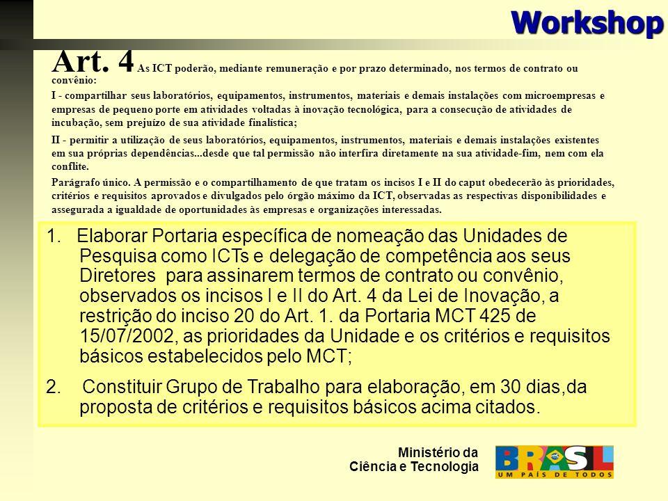 Art. 4 As ICT poderão, mediante remuneração e por prazo determinado, nos termos de contrato ou convênio: I - compartilhar seus laboratórios, equipamen
