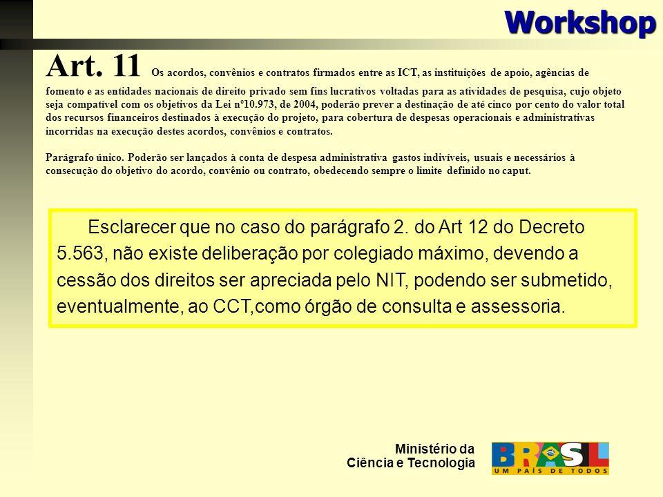 Art. 11 Os acordos, convênios e contratos firmados entre as ICT, as instituições de apoio, agências de fomento e as entidades nacionais de direito pri