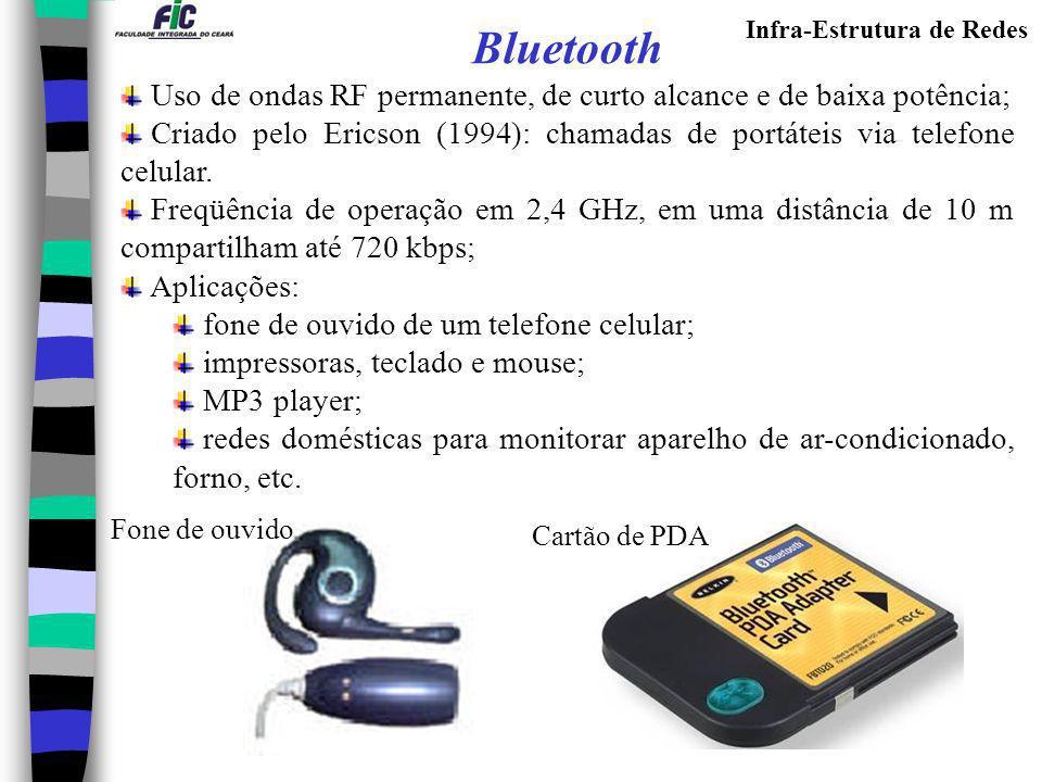 Infra-Estrutura de Redes Bluetooth Uso de ondas RF permanente, de curto alcance e de baixa potência; Criado pelo Ericson (1994): chamadas de portáteis
