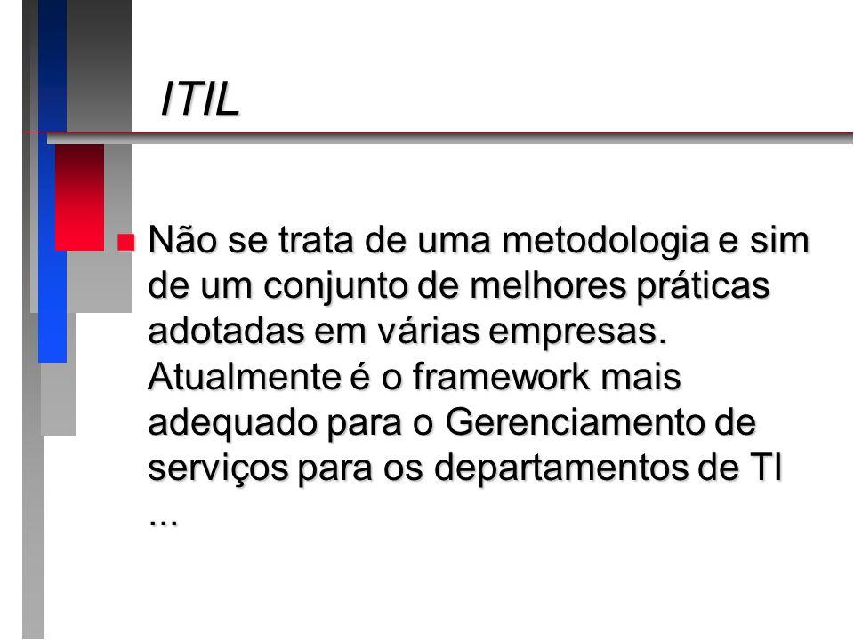 ITIL ITIL n Não se trata de uma metodologia e sim de um conjunto de melhores práticas adotadas em várias empresas. Atualmente é o framework mais adequ