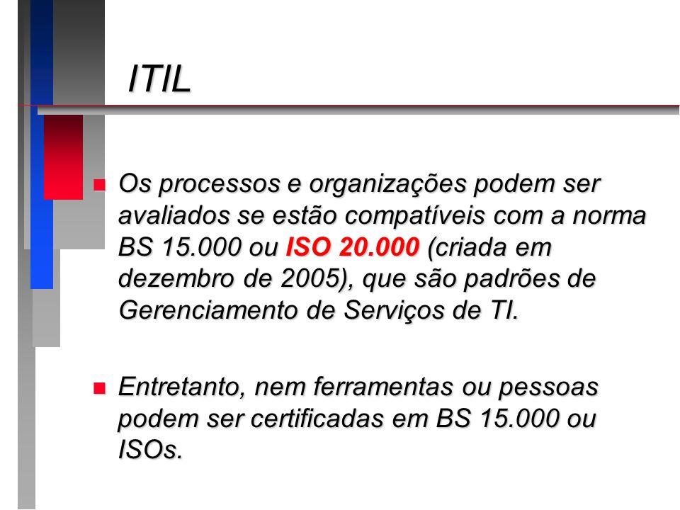 ITIL ITIL n Os processos e organizações podem ser avaliados se estão compatíveis com a norma BS 15.000 ou ISO 20.000 (criada em dezembro de 2005), que