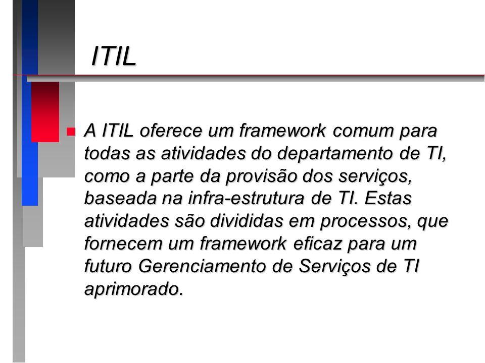 ITIL ITIL n A ITIL oferece um framework comum para todas as atividades do departamento de TI, como a parte da provisão dos serviços, baseada na infra-