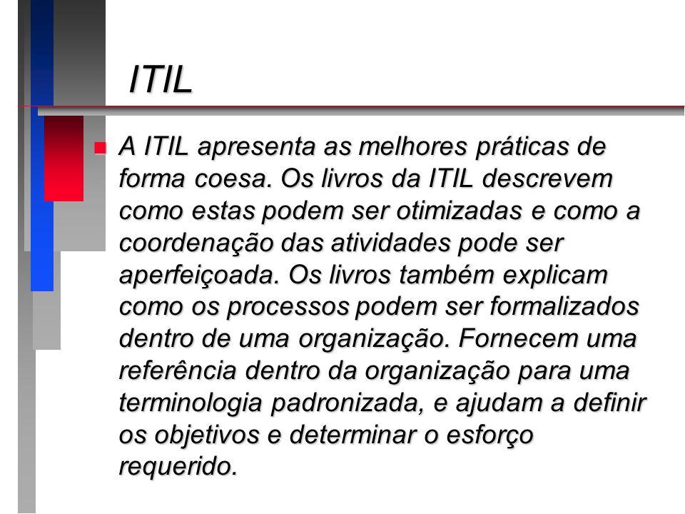 ITIL ITIL n A ITIL apresenta as melhores práticas de forma coesa. Os livros da ITIL descrevem como estas podem ser otimizadas e como a coordenação das