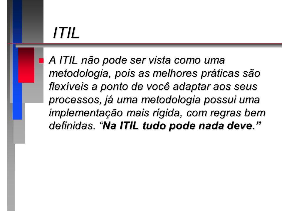 ITIL ITIL n A ITIL não pode ser vista como uma metodologia, pois as melhores práticas são flexíveis a ponto de você adaptar aos seus processos, já uma