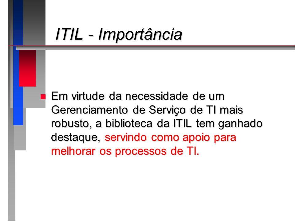 ITIL - Importância ITIL - Importância n Em virtude da necessidade de um Gerenciamento de Serviço de TI mais robusto, a biblioteca da ITIL tem ganhado