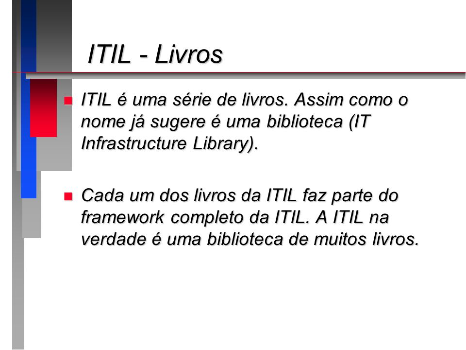 ITIL - Livros ITIL - Livros n ITIL é uma série de livros. Assim como o nome já sugere é uma biblioteca (IT Infrastructure Library). n Cada um dos livr