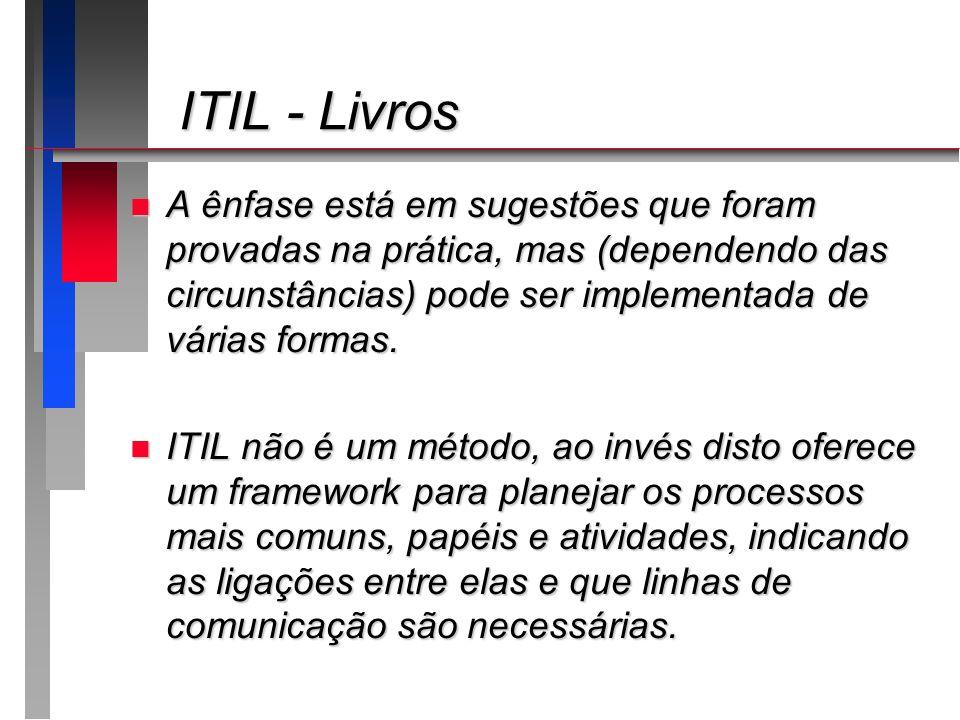 ITIL - Livros ITIL - Livros n A ênfase está em sugestões que foram provadas na prática, mas (dependendo das circunstâncias) pode ser implementada de v