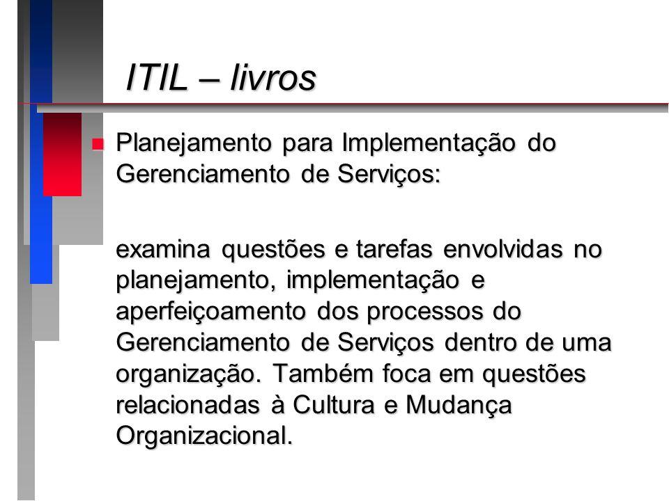 ITIL – livros ITIL – livros n Planejamento para Implementação do Gerenciamento de Serviços: examina questões e tarefas envolvidas no planejamento, imp