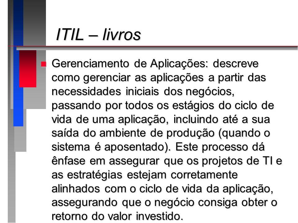ITIL – livros ITIL – livros n Gerenciamento de Aplicações: descreve como gerenciar as aplicações a partir das necessidades iniciais dos negócios, pass