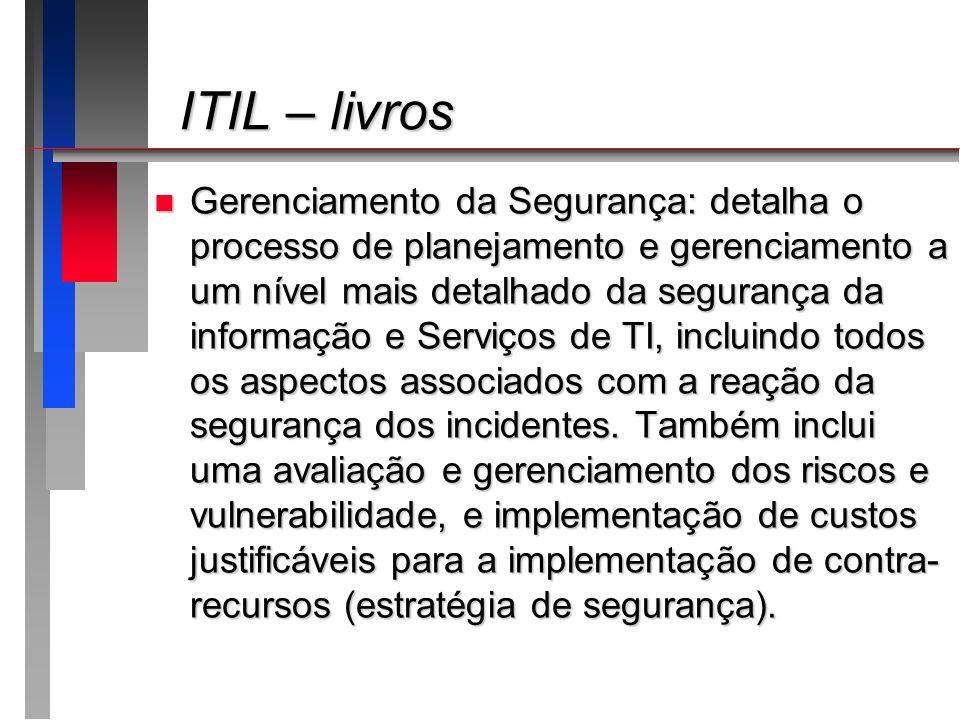 ITIL – livros ITIL – livros n Gerenciamento da Segurança: detalha o processo de planejamento e gerenciamento a um nível mais detalhado da segurança da