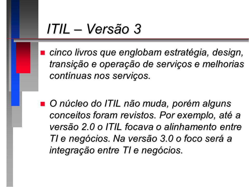 ITIL – Versão 3 ITIL – Versão 3 n cinco livros que englobam estratégia, design, transição e operação de serviços e melhorias contínuas nos serviços. n