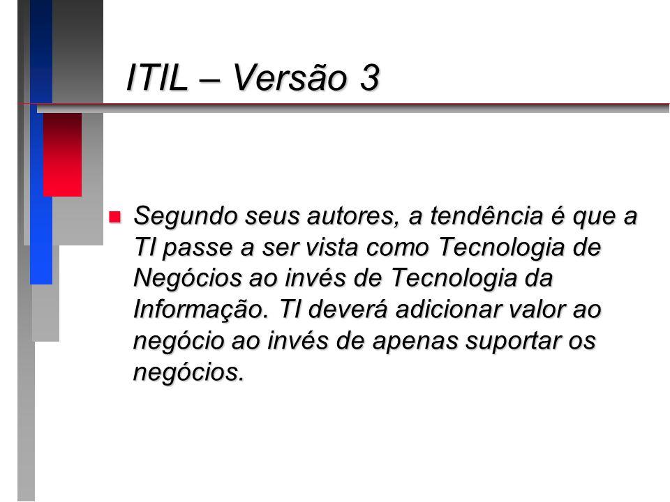 ITIL – Versão 3 ITIL – Versão 3 n Segundo seus autores, a tendência é que a TI passe a ser vista como Tecnologia de Negócios ao invés de Tecnologia da