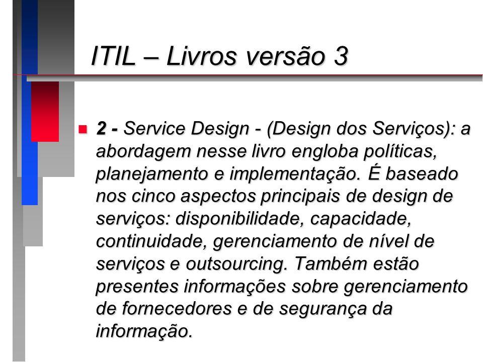 ITIL – Livros versão 3 ITIL – Livros versão 3 n 2 - Service Design - (Design dos Serviços): a abordagem nesse livro engloba políticas, planejamento e