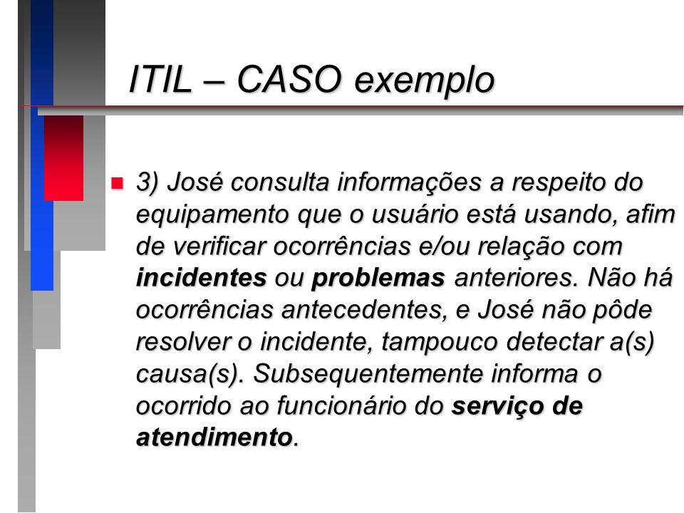 ITIL – CASO exemplo ITIL – CASO exemplo n 3) José consulta informações a respeito do equipamento que o usuário está usando, afim de verificar ocorrênc