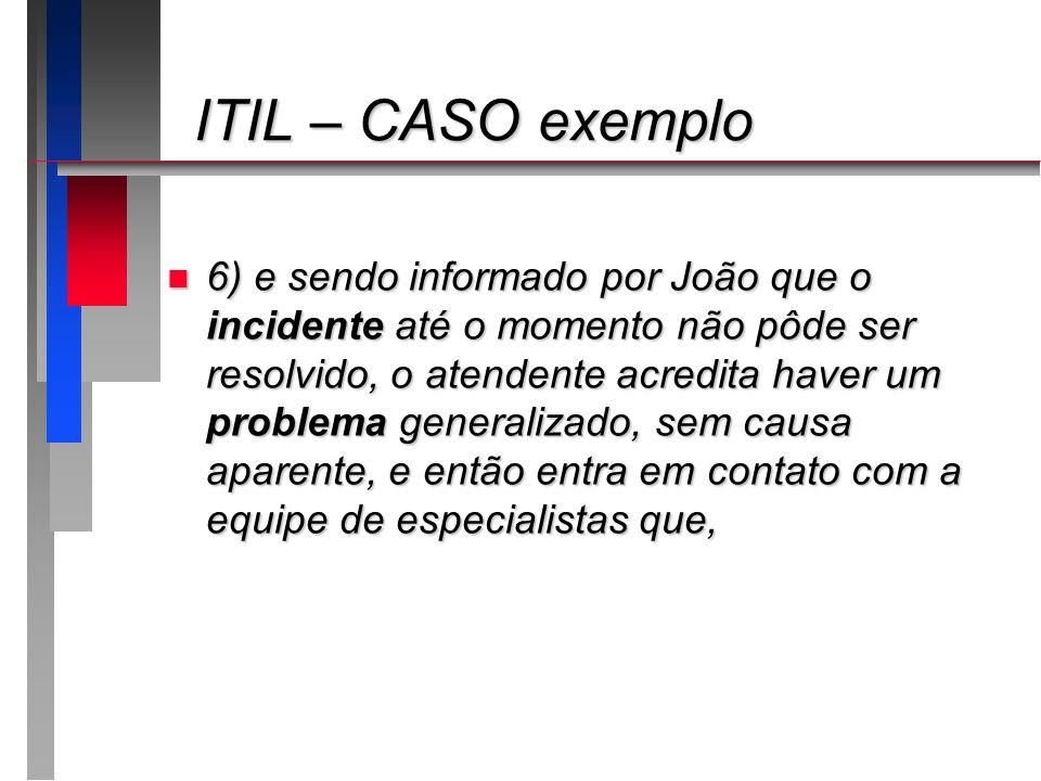 ITIL – CASO exemplo ITIL – CASO exemplo n 6) e sendo informado por João que o incidente até o momento não pôde ser resolvido, o atendente acredita hav